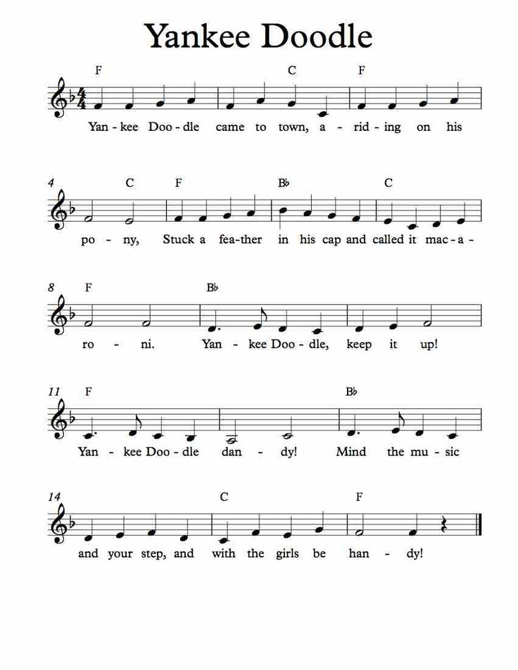 Free Lead Sheet Yankee Doodle Piano Songsguitar Songsmusic