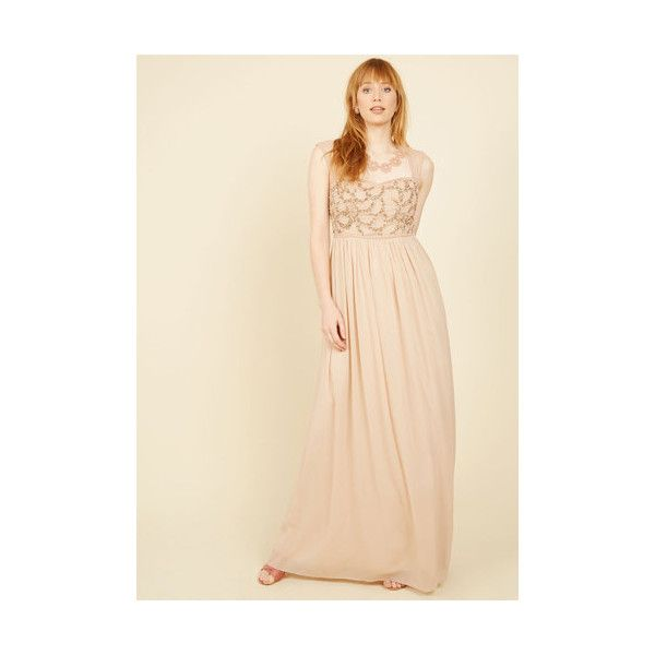 Sleeveless Empire Balance and Beauty Maxi Dress (12,690 INR) ❤ liked on Polyvore featuring dresses, gowns, apparel, tan, sequin dresses, formal dresses, sleeveless maxi dress, chiffon maxi dress and formal gowns