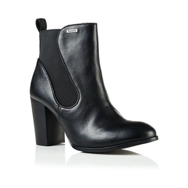 Superdry Fleur Leather Chelsea Boots (£61) ❤ liked on Polyvore featuring shoes, boots, ankle booties, black, leather high heel boots, leather booties, leather ankle booties, black leather boots and black ankle booties