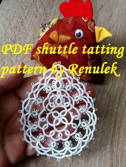 PDF Original Shuttle Tatting Pattern Easter egg3 by Renulek Instant Digital Download. Tatting yourself gift. schemat frywolitki