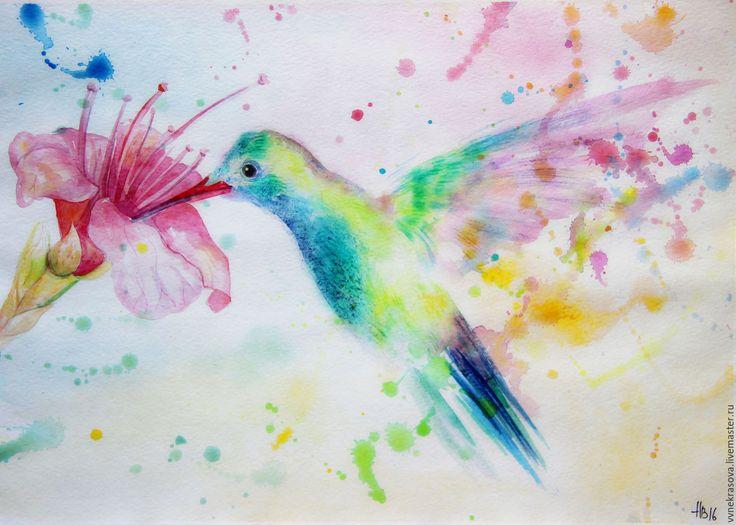 Купить Акварель. Колибри - акварель, акварельная картина, акварельная живопись, акварельный рисунок, акварельные цветы