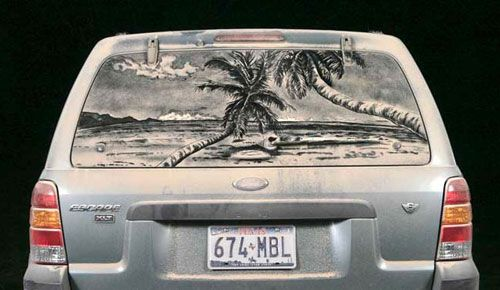 Dirty Car Art     The artist Scott Wade draws on dirty car windows the kinds of things most of us can only dream of being able to do on paper.
