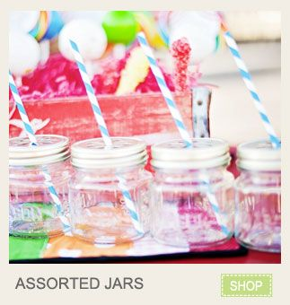 Great place to get the mason jar drinking glasses with stamped lids! Only $3 each! www.KarasPartyIdeas.com/shop