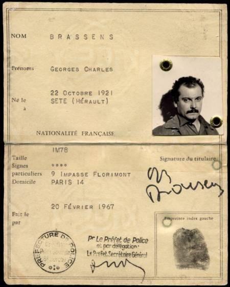 La carte d'identité de Georges Brassens