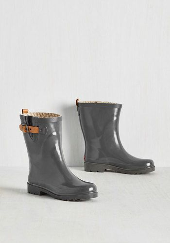 Puddle It Be? Rain Boot in Fog - Grey, Tan / Cream, Buckles, Minimal, Spring, Better, Calf, Variation, Grey, Neutral, Lounge