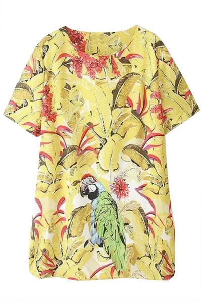 Yellow Cute Parrot Print Dress
