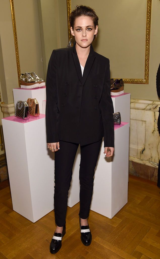 Black Out from Kristen Stewart's Best Looks  The former Twilight actress is looking sharp in an all-black ensemble using just a hint of white as accents for her dark look.