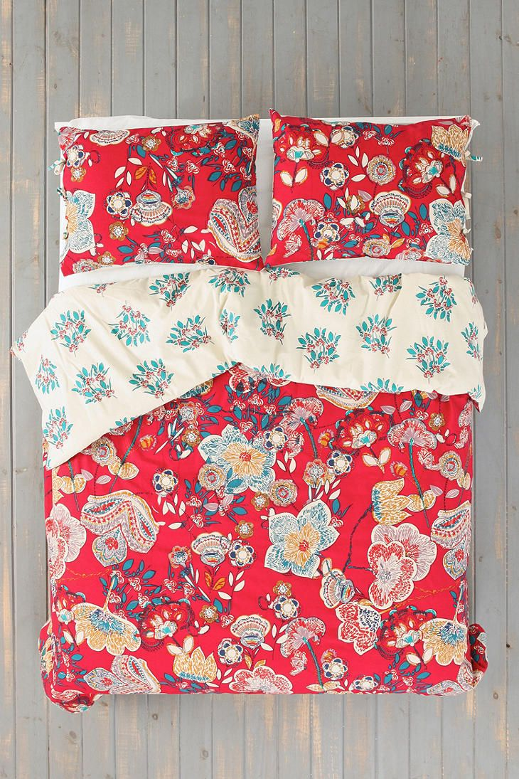 Magical Thinking Ruby Garden Duvet Cover