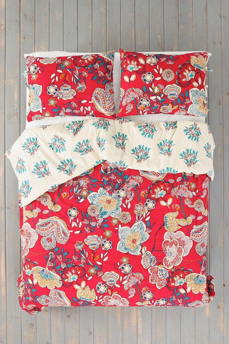 Magical Thinking Ruby Garden Duvet Cover