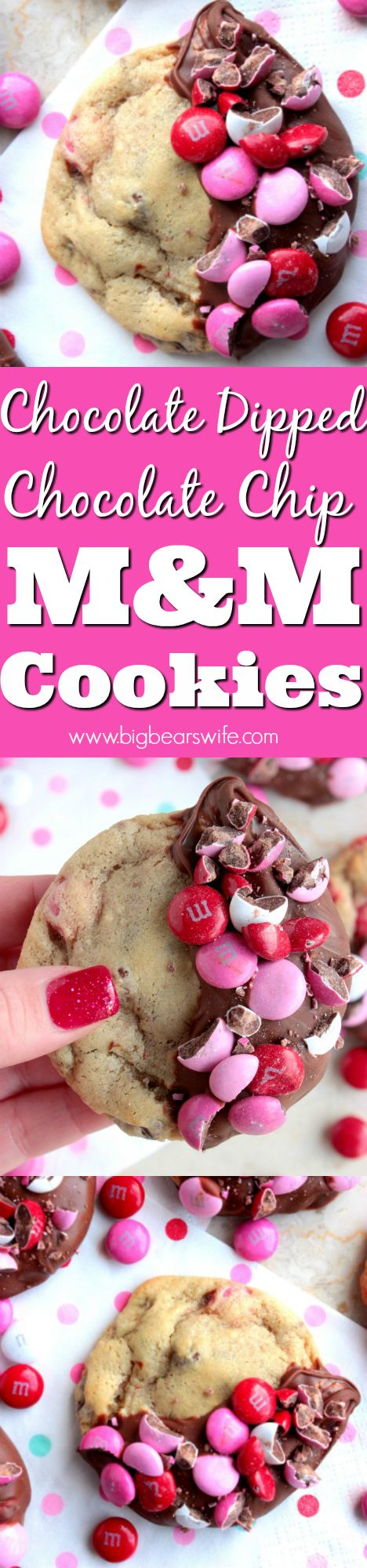 Chocolate Dipped Chocolate Chip M&M Cookies -If you love soft chewy chocolate chip cookies this is the recipe for you! These Chocolate Dipped Chocolate Chip M&M Cookies are amazing! They would be perfect for you Valentine or anyone that loves cookies!