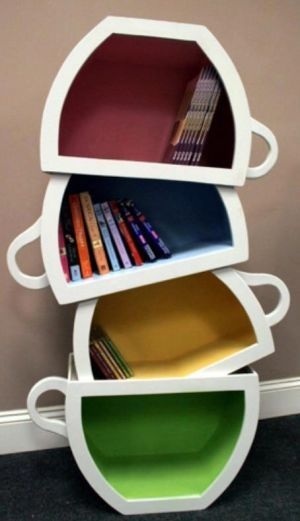coffee cup book shelf - this would be awesome for the corner of a kitchen for cookbooks