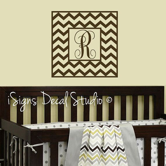 Chevron Decal Sticker  Chevron Monogram Name by iSignsDecalStudio, $28.00