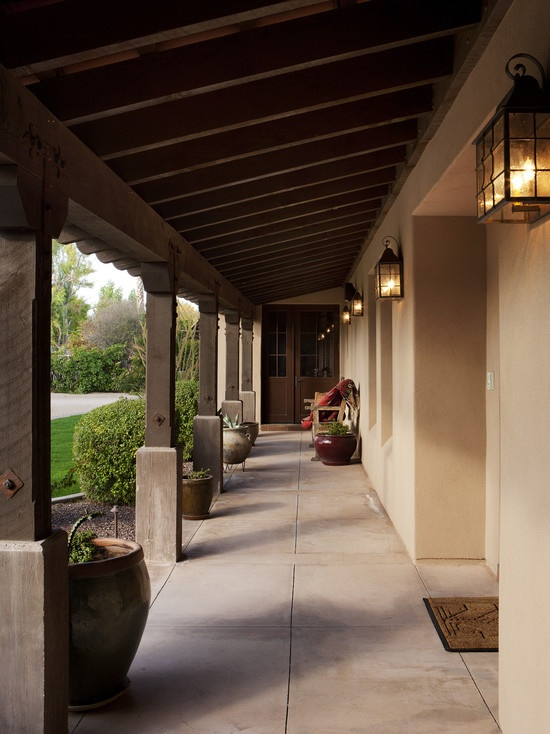 Exterior cement stucco lights spanish style homes for Mediterranean front porch designs