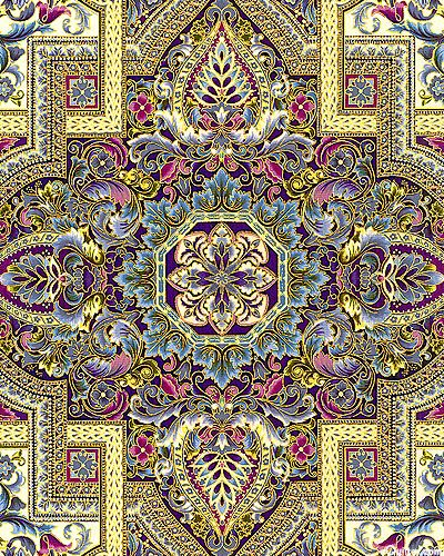 eQuilter KATIN5DP - Florentine 4 - Tapestry - Mulberry/Gold Metallic from the 'Florentine 4' collection by Peggy Toole for Robert Kaufman