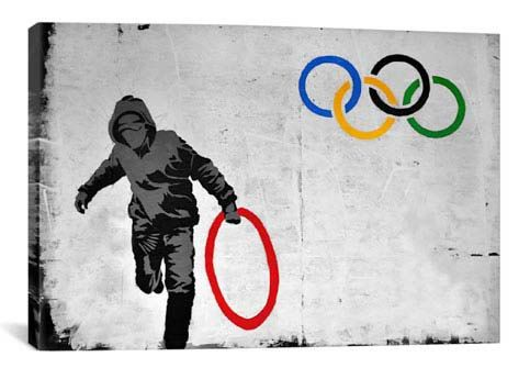 Olympics Stolen Ring Street Art By Banksy Canvas Print