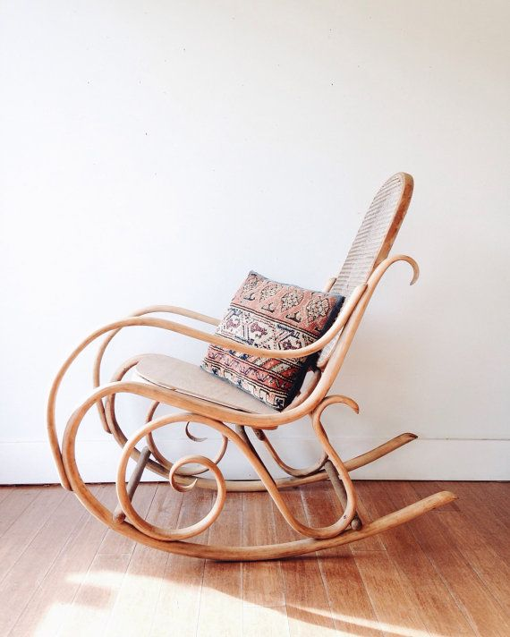 Thonet Rocking Chair  bentwood cane wood by ethanollie on Etsy