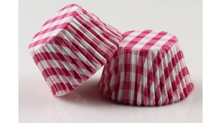 Színes fehér kockás muffin papír 100 db - Süss Velem.com