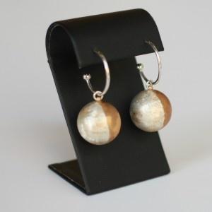 Silver Ball Earrings with beige synthetic enamel | Earrings | Loft Living Ltd