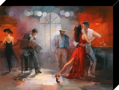 bandoneon, cantante, bailarines