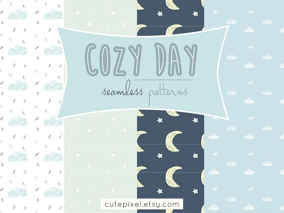 INSTANT DOWNLOAD COZY day cloud and rain digital by cutepixel, $4.00