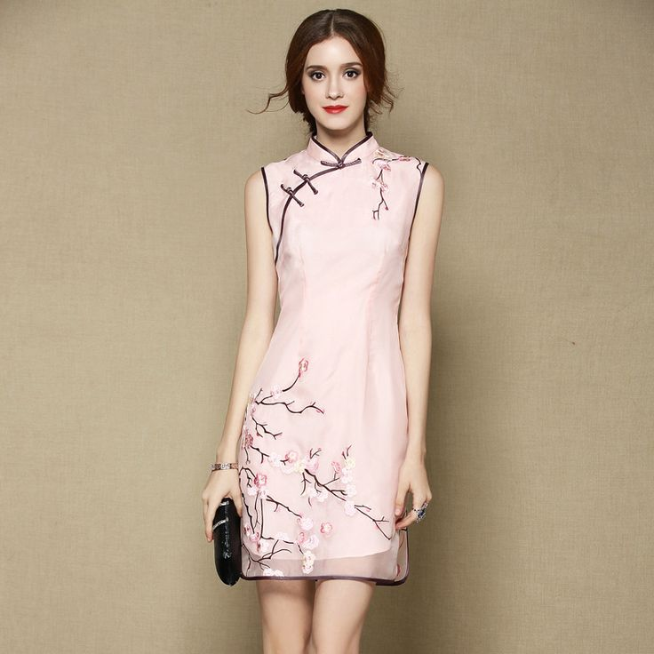 Sweet Sleeveless Silk Cheongsam Qipao Dress - Pink - Qipao Cheongsam & Dresses - Women