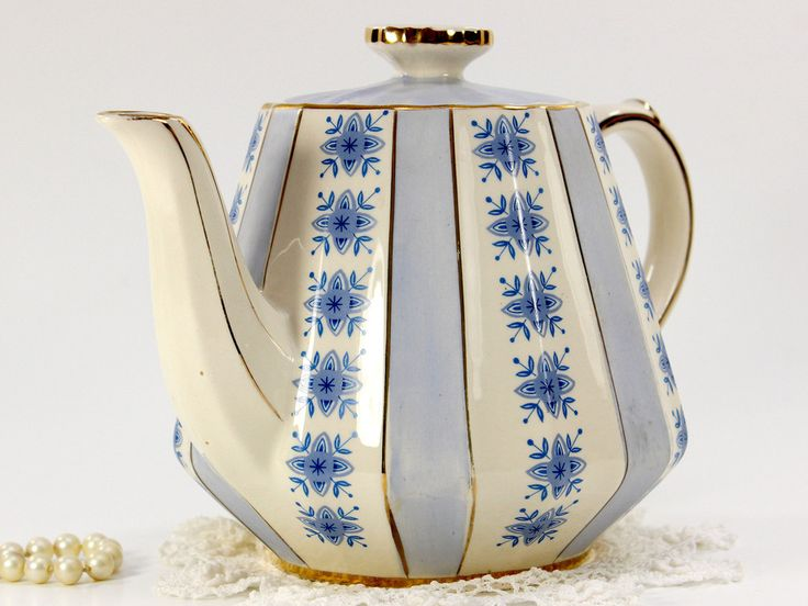 Sadler Mid Century Modern Teapot, Vintage Sadler Tea Pot, Blue Stripes 12650