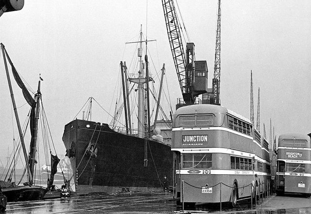 Durban. 1939. A View Showing Several Double Decker Buses at the port.