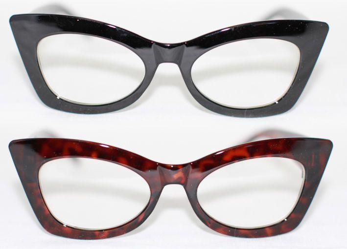 Cat Eye Brille Nerd bold flach 50er Retro Jahre Klarglas Pinup schwarz braun 930