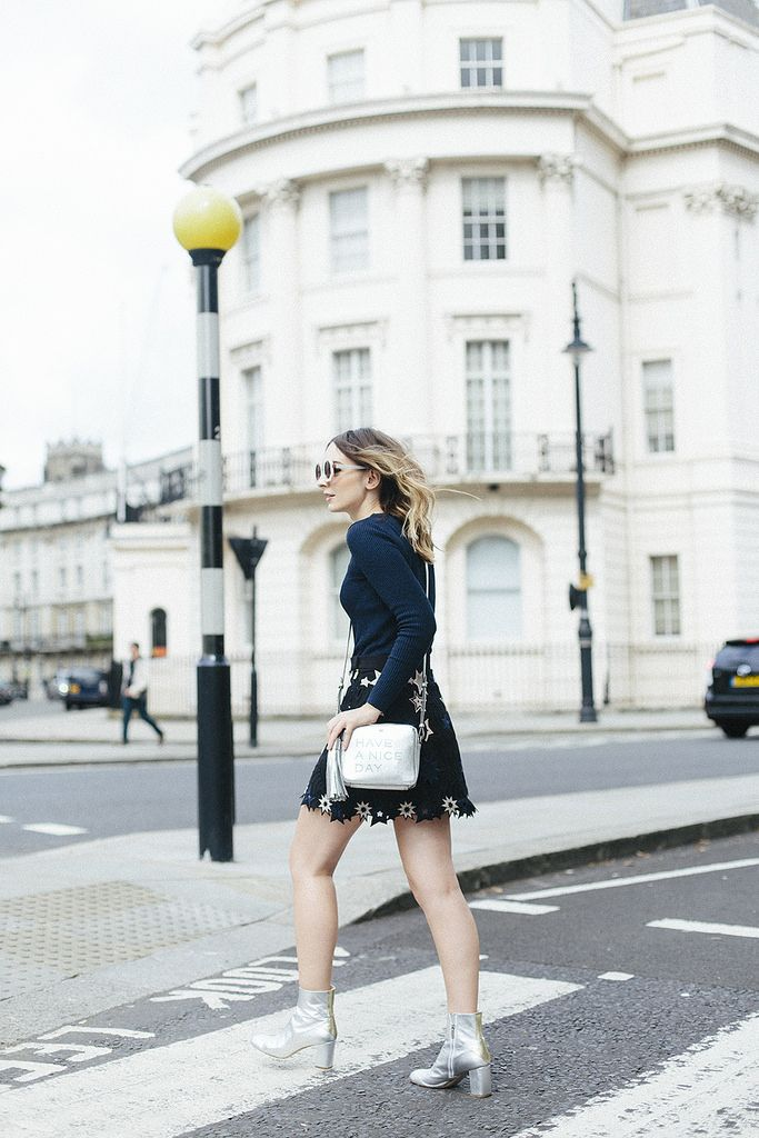 (Sunglasses: C/O Wildfox , Jumper: Topshop , Skirt: & Other Stories , Boots: Camilla Elphick  (similar here ), Bag: Anya Hindmarch ...
