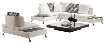 Society - Modern Leather Sectional Sofa with Chair - modern - Sectional Sofas - Furniverse