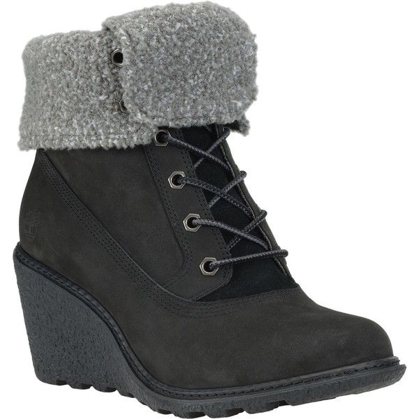 Timberland Amston Roll-Top Boot ($140) ❤ liked on Polyvore featuring shoes, boots, color block shoes, foldable shoes, wedge shoes, foldable boots and wedge boots