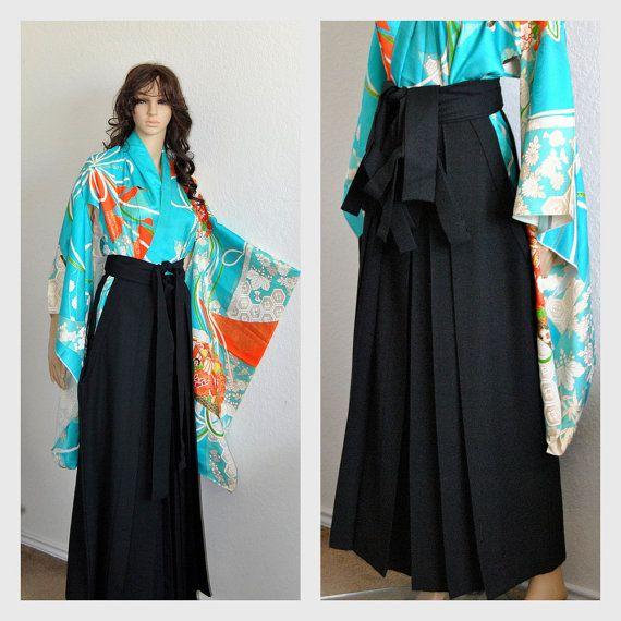 Japanese Hakama Kimono Skirt Black Pleated Long by EventOutlet
