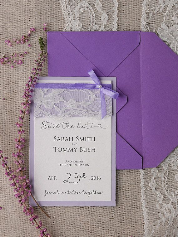 Save The Date Card 20 Purple Save the Date by forlovepolkadots