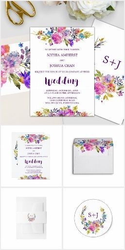 Floral Wreath Monogram Wedding Collection - This invitation suite features bright magenta, pink, plum purple and blue flowers, and a lovely bold script font for modern brides. This set includes all of the essentials, and more! Invites, envelopes, stamps, labels, belly bands, five RSVP options, enclosure cards, save the date, thank you cards, and also, all of the paper for your ceremony and reception. It's perfect for these themes: garden, colorful watercolor flowers, romantic, spring…