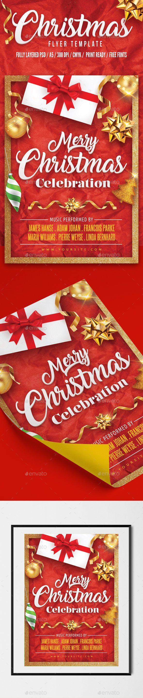 Christmas Flyer Template PSD #xmas #christmaseve #partyflyer