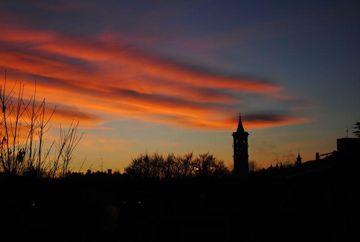Tramonto di fuoco e campanile di Terno d'Isola #ternodisola #bergamo #italy #sunset by samolten