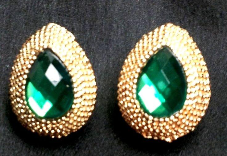 Gorgeous Emerald Green Waterdrop Austrian crystal 18k Gold Plated  Stud Earrings #Fashionjewelry #studEarrings