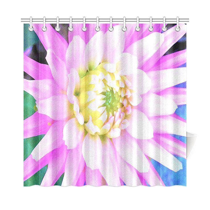 Shower Curtain Pretty Pink White And Yellow Cactus Dahlia Macro