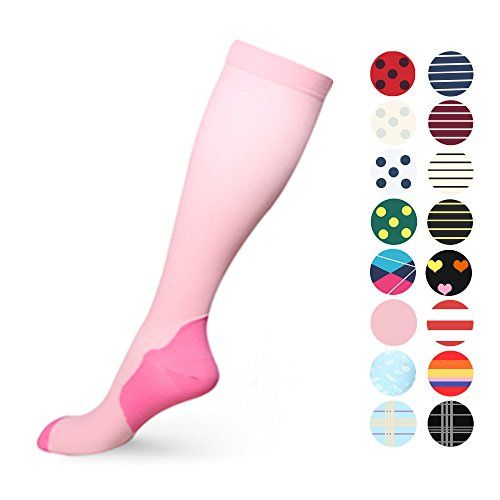 Graduated Compression Socks for Women & Men 20-30 mmHg - Moderate Compression Stockings For Running Crossfit Travel- Suits Nurse Maternity Pregnancy Shin Splints (S/M Pink)