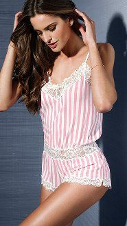 Victoria's Secret Babydoll Satin Lace Slip Pajamas