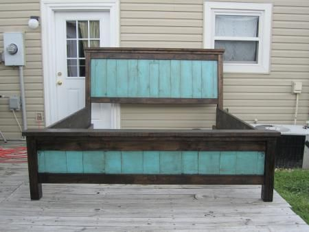 Farmhouse Bed | Do It Yourself Home Projects from Ana White. Love the turquoise and brown combo.