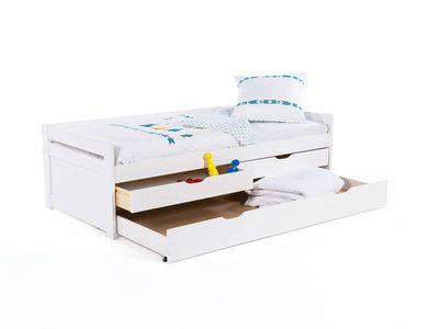 Lit gigogne en bois 90x190 cm avec 1 sommier à lattes et 3 tiroirs SUSIE Blanc, Sans matelas