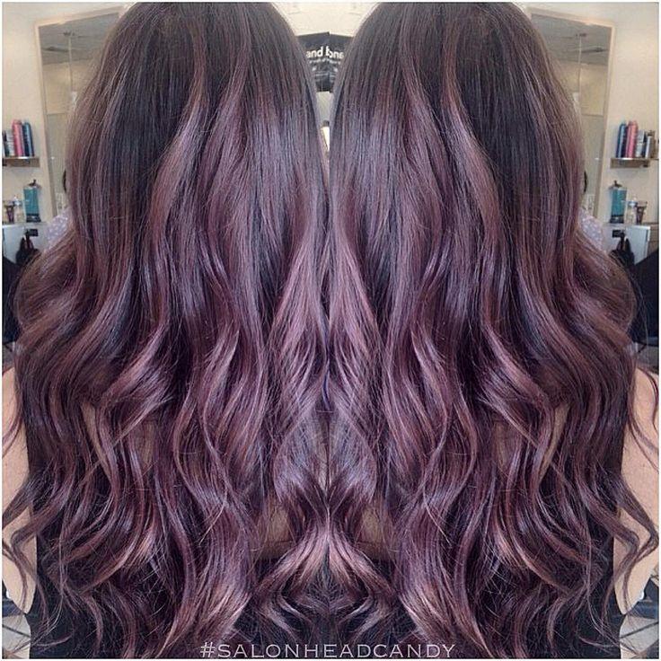 \u201cBeautiful smoky gray purple balayage with long waves to add to the collection of amazing