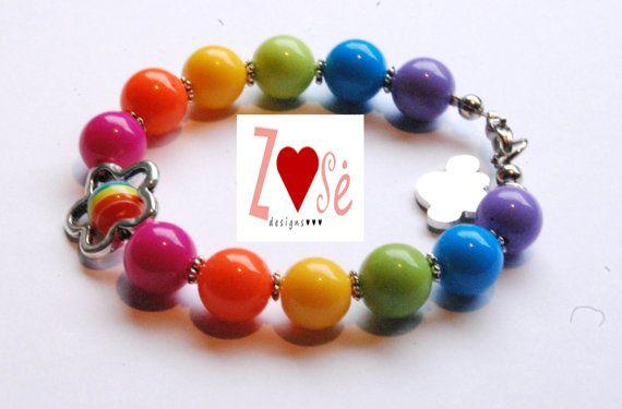 Girls #rainbow bubble gum #bracelet. by ZoseDesigns, $12.00