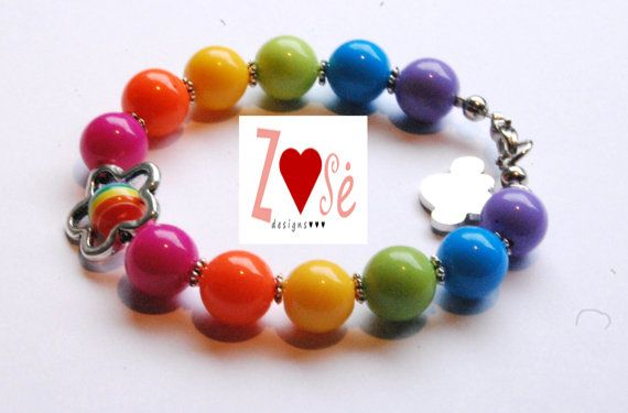 Girls #rainbow bubble gum #bracelet. by ZoseDesigns, $12.00