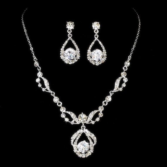 Wedding jewelry SET, Rhinestone necklace and earrings, Bridal jewelry set, Crystal necklace, Crystal earrings on Etsy, $60.00