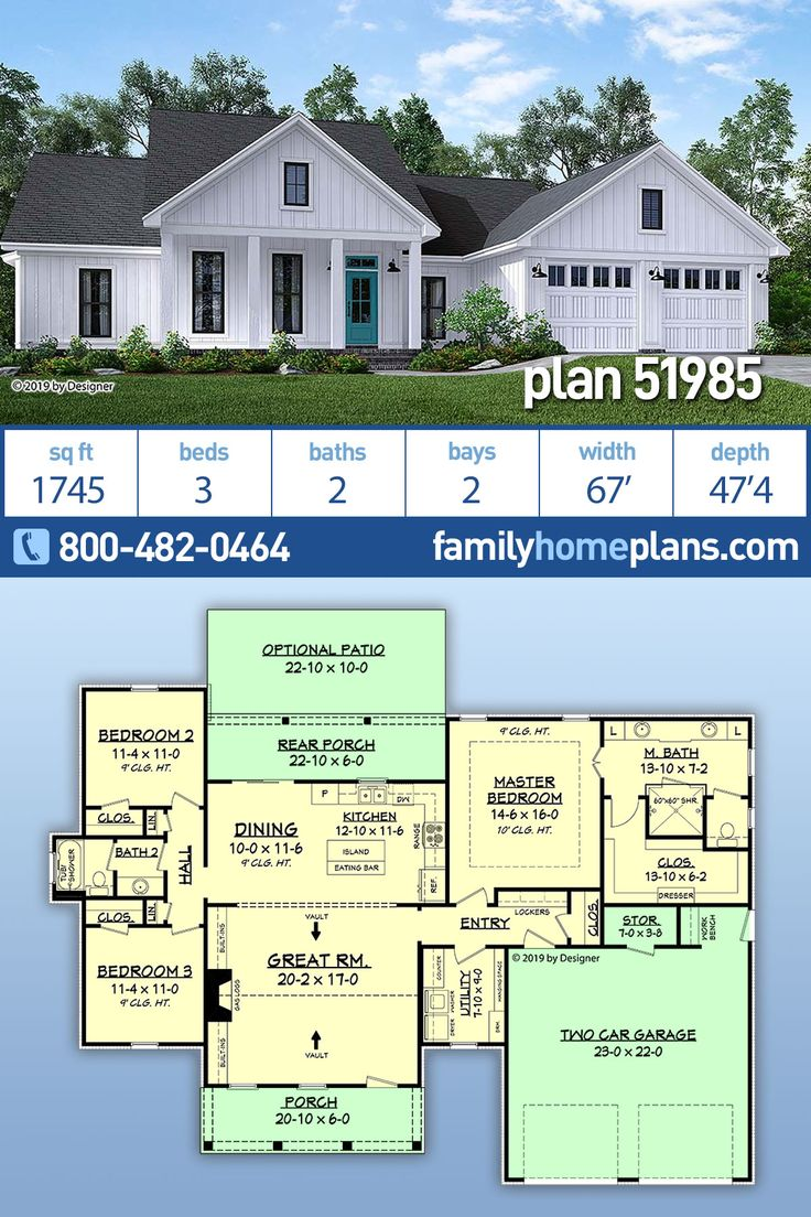 New Country House Design – Home Plan 51985 has a 3×2 Open Layout and Split Bedrooms, Two Car Garage