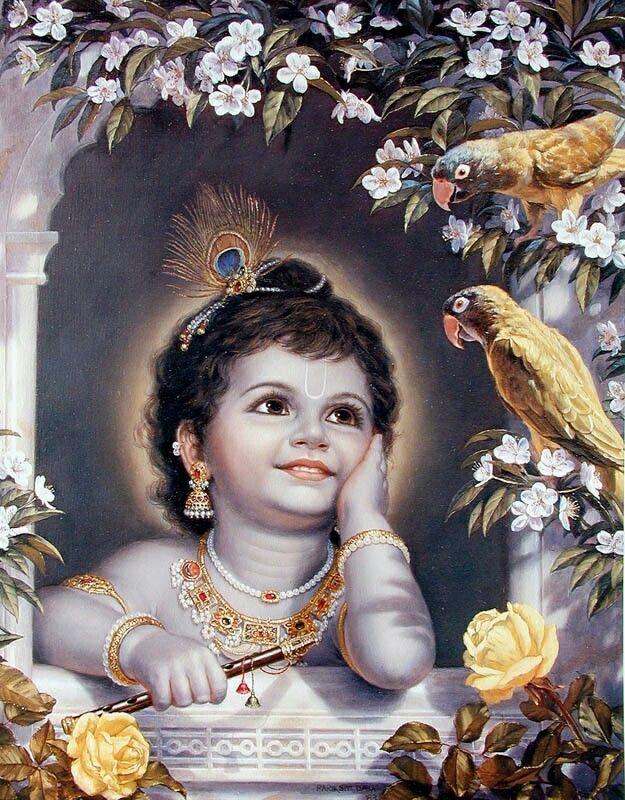 Baby Krishna and parrots