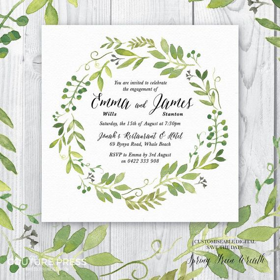 The Spring Green Wreath Engagement Invitation from Couture Press features a gorgeous watercolour image paired with a whimsical modern calligraphy