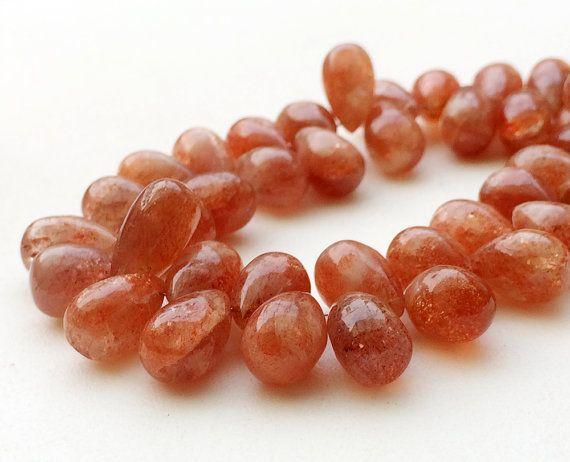 SunStone Plain TearDrop Beads Sunstone Drop by gemsforjewels